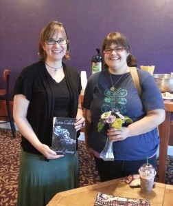 Elizabeth Jennings, author of The Button Collector, with Celia Barbieri, The Button Florist
