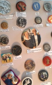 One of the button cards entered into the state competition.  The category was buttons showing couples.  Note the variety of materials, styles, and age.